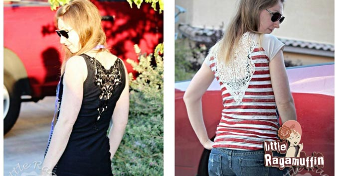 How to sew a lace applique to the back of a shirt or dress