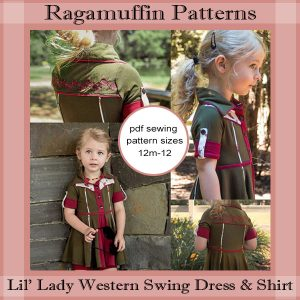 Ragamuffin Patterns Outlaw Lady Dress, Top, Skirt - Little